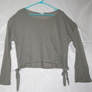Honey Punch SIde Tie Crop Top Green Knit Large
